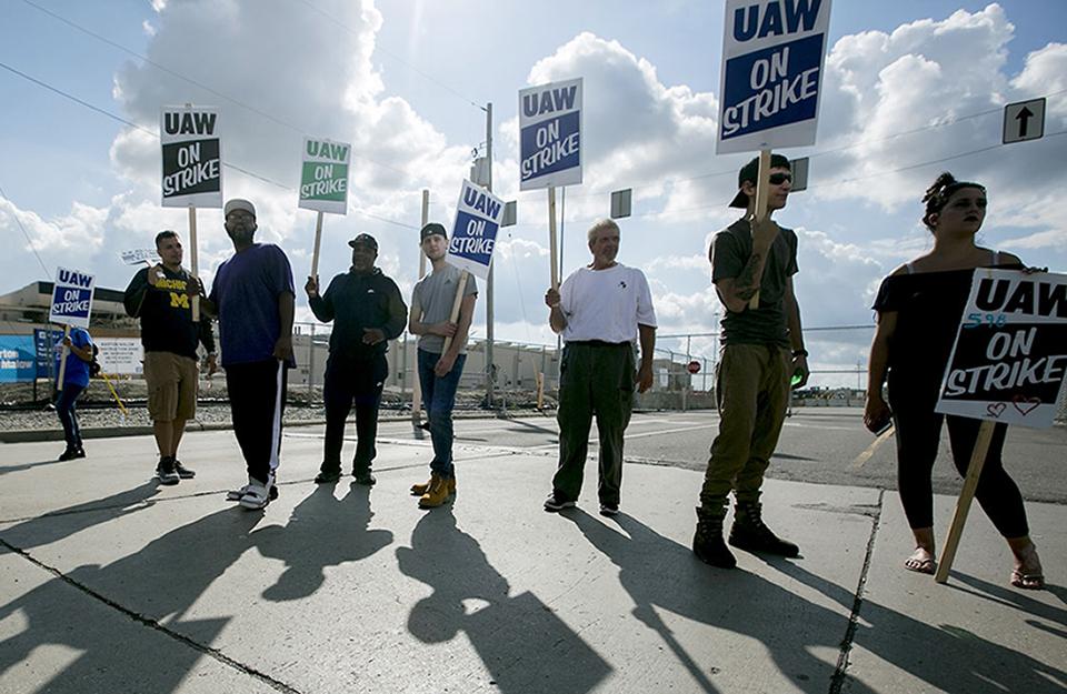 Strejkande arbetare hos GM